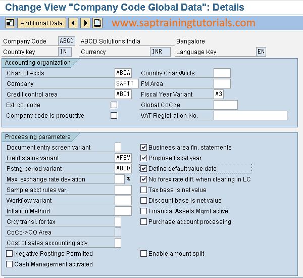 Maintain Global Parameters In Sap